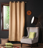 Lushomes Strong Ground Polyester 90 x 54 Inch Plain Blackout Door Curtain with 8 Metal Eyelets - Set of 2