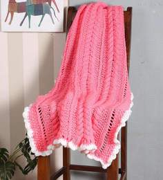 Magic Needles Exclusive Cable Bordered Blanket In Floroscent Pink