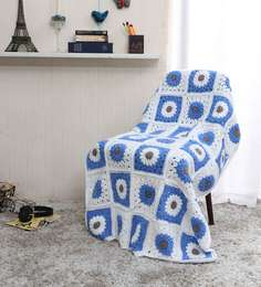 Magic Needles Exclusive Granny Square Blanket In Blue Colour