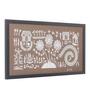 Manomay Kreations Brown Canvas 3 Trees & Tarpa Dance Framed Warli Painting