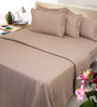 Mark Home Beige Solids Cotton Single Size Fitted Bed Sheet Set - Set of 4