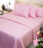 Mark Home Pink Solids Cotton Queen Size Fitted Bed Sheet Set - Set of 3