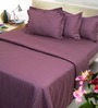 Mark Home Purple Solids Cotton King Size Bed Sheet Set - Set of 3