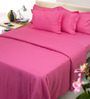 Mark Home Shocking Pink Solids Cotton Queen Size Bed Sheets - Set of 3