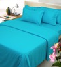 Mark Home Turqouise Blue Solids Cotton King Size Bed Sheets - Set of 3