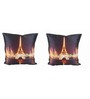 Me Sleep Multicolor Microfibre 12 x 12 Inch Digitally Printed Effel Tower with light Cushion Covers - Set of 2
