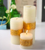 Micasa White with Gold Border Design Candles - Set of 3