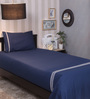 Milano Home Embroidered 100% Cotton 200 Thread Count Single Bedsheet Set - Navy