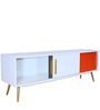 Modern Danish Entertainment Unit with Tapered Legs in White Colour by Afydecor