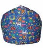 Muddha Sofa Bean Bag with Beans with Blue Indian Pattern by Sattva