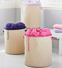 My Gift Booth Canvas 20 L Beige & Pink Laundry Bag