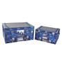 My Gift Booth Skull Nylon Black & Navy 30 L Storage Box - Set of 2