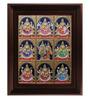 Myangadi Multicolour Gold Plated Ashta Laxmi Framed Tanjore Painting
