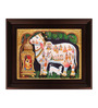 Myangadi Multicolour Gold Plated Kamdhenu Framed Tanjore Painting