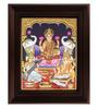Myangadi Multicolour Gold Plated Saraswati Ganesh Framed Tanjore Painting