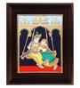 Myangadi Multicolour Gold Plated 2.9 X 14 X 18 Inch Swinging Radha Krishna Framed Tanjore Painting