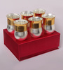 Ojas Gold Stainless Steel Gold Plated Flower Pot Glass Set