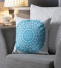One Good Thing White & Blue Canvas 16 x 16 Inch Suzani-Embroidered Cushion Cover - Set of 2