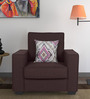 Oritz One Seater Sofa with Cushions in Chestnut Brown Colour by CasaCraft