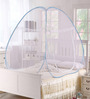 Pindia Blue Border Polyester Foldable Single Bed Mosquito Net