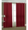PIndia Red Polyester 108 x 48 Inch Long Door Curtain - Set of 2