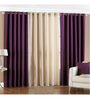 PIndia Purple Polyester 108 x 48 Inch Long Door Curtain - Set of 3