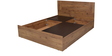 Platina Knotty Queen Bed with Top Storage in Knotty Wood & Teak Colour by Crystal Furnitech