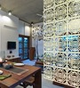 Planet Decor White Acrylic with Wooden Lamination Wenge Grained Room Divider