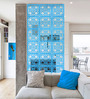 Planet Decor Blue Acrylic with Wooden Lamination Room Divider