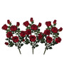 Pollination Red Artificial Rose Flower - Set of 3