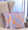Portico Orange Cotton 16 x 16 Inch Nishka Lulla Cushion Cover - Set of 2