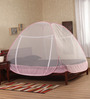 Prc Net Pink & White Terylene Double Bed Mosquito Net