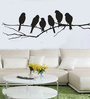 Print Mantras PVC Wall Stickers Beautiful Black Sparrows on Branches