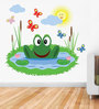 Print Mantras Wall Stickers Beautiful Frog and Butterflies in Pond