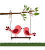 Print Mantras Wall Stickers Beautiful Swinging Love Birds on Branches and Grass