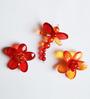 Kanhai Red Acrylic Quirly Garden Fridge Magnet - Set of 3