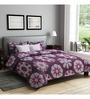 Rago Purple Poly Cotton Queen Size Bedsheet - Set of 3