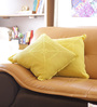 Reme Yellow Cotton 16 x 16 Inch Lace Cushion Cover - Set of 2