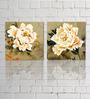 Retcomm Framed Multiple Canvas Paintings Light Colored Flower Petals Protecting Centre Bud