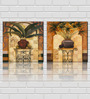 Retcomm Framed Multiple Canvas Paintings Modern Art  potted leaves on wrought iron table with arabic Window background'