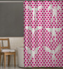 Right Pink & White Polyester Shower Curtain