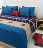 Rosepetal Blue Cotton Checkered Double Bed Sheet Set (with Pillow Covers)