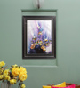 Sadhana Porwal Wooden 24 x 1.5 x 36 Inch Emerald Blue Flame with Purple Mist on Golden Orange Crust Framed Painting