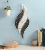 Safal Quartz Black & White MDF 19.75 x 8 Inch wavy Wall Clock