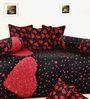 Salona Bichona Red & Black Satin Diwan Set - Set of 6