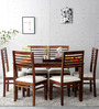Winona Ivy Six Seater Dining Set in Provincial Teak Finish by Woodsworth