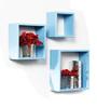Santa Marinha Contemporary Wall Shelves Set of 3 in Blue by CasaCraft