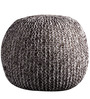 Senorita Cotton Yarn Knitted Pouffe in White & Brown Colour by Purplewood