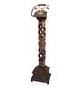 Shah Kreations Brown Mango Wood Antique Pedestal Rope Design Retro Telephone