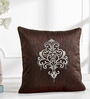 Shahenaz Home Shop Brown Poly Silk 16 x 16 Inch Ethnic Indian Cushion Cover